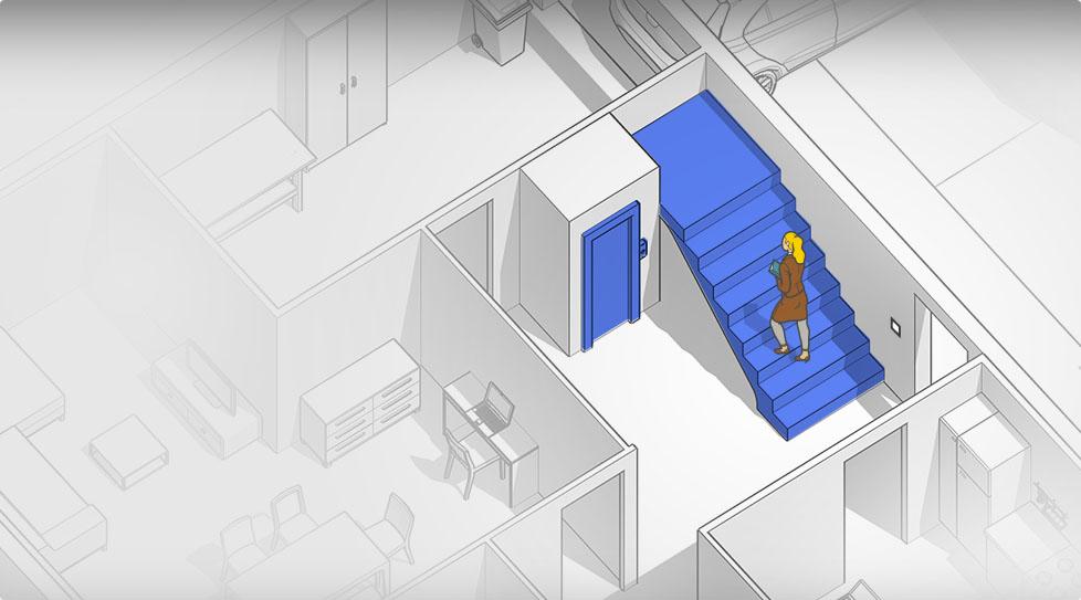 Carte interactive : Marches de perron, escalier, ascenseur